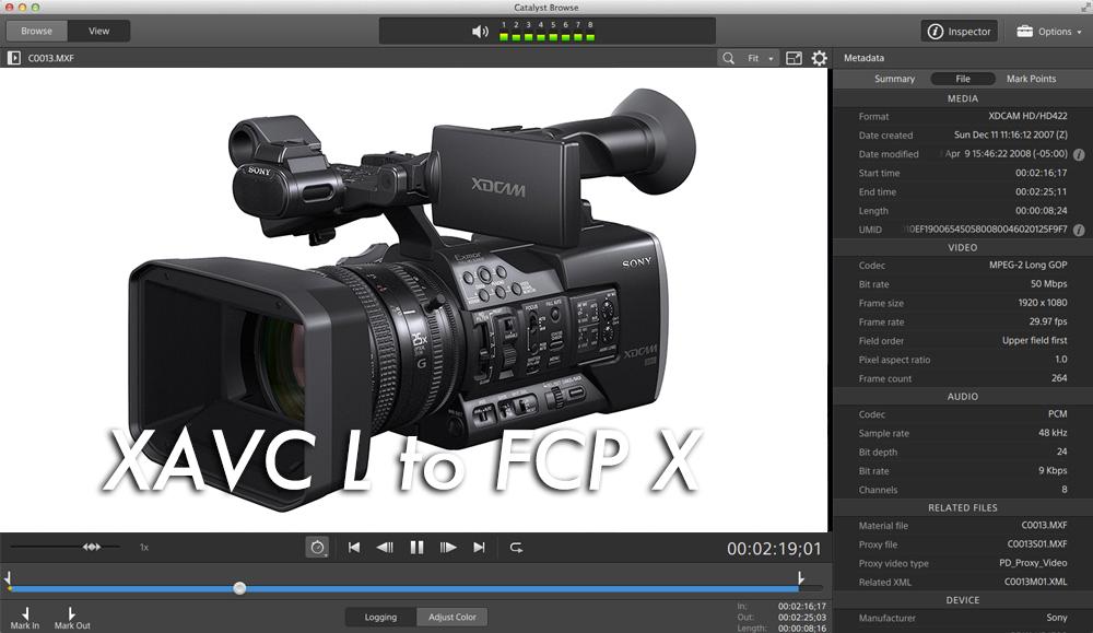 XDCAMのXAVC Lで撮った時のFCPXにデータを取り込む方法